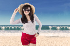 Attractive woman wearing summer clothes Stock Photos
