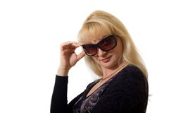 Attractive woman wearing sunglasses Royalty Free Stock Images