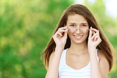 Attractive woman wears glasses Royalty Free Stock Photo
