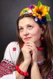 Attractive woman wears Ukrainian national dress Royalty Free Stock Photo