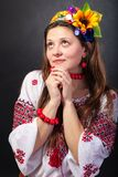 Attractive woman wears Ukrainian national dress Royalty Free Stock Images