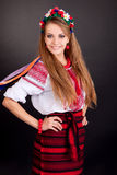 Attractive woman wears Ukrainian national dress Stock Images