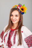 Attractive woman wears Ukrainian national dress Stock Photo