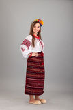 Attractive woman wears Ukrainian national dress Royalty Free Stock Photography