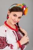 Attractive woman wears Ukrainian national dress Stock Image
