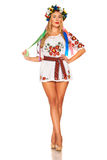 Attractive woman wears Ukrainian national dress isolated Royalty Free Stock Photos