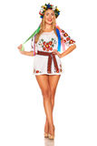 Attractive woman wears Ukrainian national dress isolated Stock Photos