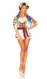 Attractive woman wears Ukrainian national dress isolated Royalty Free Stock Image