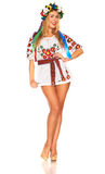 Attractive woman wears Ukrainian national dress isolated Stock Image