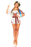 Attractive woman wears Ukrainian national dress isolated Stock Photo