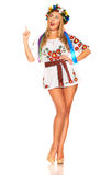 Attractive woman wears Ukrainian national dress isolated Stock Images