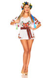 Attractive woman wears Ukrainian national dress isolated Stock Photography