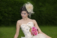 Attractive woman in wedding gown royalty free stock photo