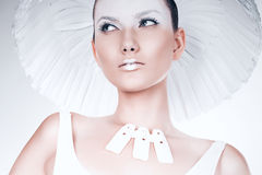 Attractive woman in white accessories Royalty Free Stock Photos