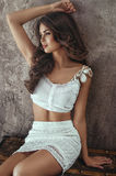 Attractive woman in white clothes Royalty Free Stock Image
