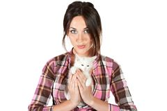Attractive woman with a white kitten Stock Photo