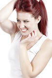 Woman in vest top Stock Photo