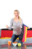 Attractive woman whoops a german team Stock Photography