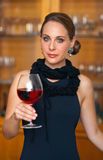 Attractive woman with wine royalty free stock images
