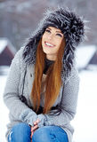 Attractive  woman in wintertime outdoor Royalty Free Stock Images