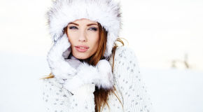Attractive  woman in wintertime outdoor Royalty Free Stock Photography