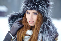 Attractive  woman in wintertime outdoor Royalty Free Stock Photos