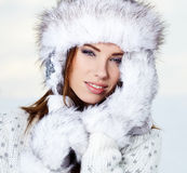 Attractive  woman in wintertime outdoor Stock Photo