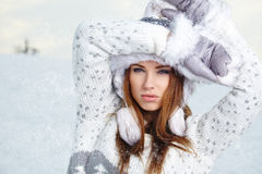 Attractive  woman in wintertime outdoor Stock Image