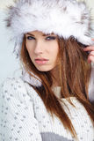 Attractive  woman in wintertime outdoor Stock Photography