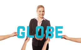 Attractive woman with the word GLOBE Royalty Free Stock Photography
