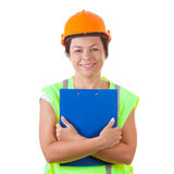 Attractive Woman Worker in Safety Jacket and Yellow Helmet Holdi. Ng Clipboard on a white background Stock Image