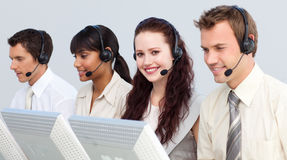 Attractive woman working in a call center Royalty Free Stock Photos