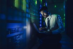 Woman in data centre Royalty Free Stock Photography