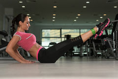 Attractive Woman Working Out With Rubber In Gym Royalty Free Stock Photos