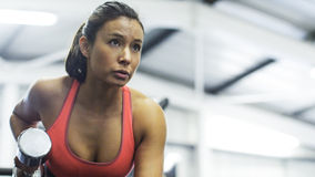Attractive woman working out with weights Stock Photography