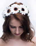 Attractive woman with wreath on head Royalty Free Stock Images