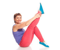 Attractive woman 50 years doing fitness Royalty Free Stock Images