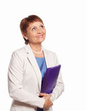 Attractive woman 50 years old with a folder for documents. On white background Royalty Free Stock Images