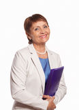 Attractive woman 50 years old with a folder for documents. On white background Stock Images