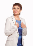 Attractive woman 50 years in a white jacket Royalty Free Stock Photos