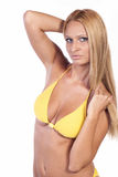 Attractive woman in yellow bikini Stock Photography