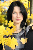 Attractive woman with yellow leafage Royalty Free Stock Image