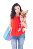 Attractive woman with yorkshire terrier Stock Image