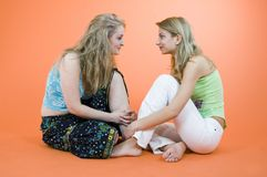 Attractive Women. A pair of attractive young women looking at each other stock images
