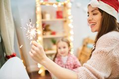 Having Fun at Christmas Eve royalty free stock image