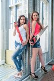 Attractive women on construction site Royalty Free Stock Image