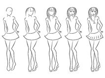 Attractive women contour in drawing sequence Royalty Free Stock Image
