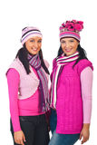 Attractive women in knitted pink clothes Stock Image