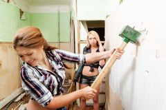 Attractive women with tools Stock Images