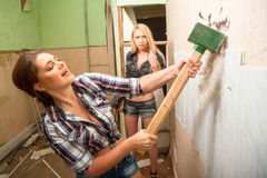 Attractive women with tools Royalty Free Stock Image